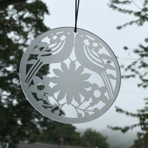 Two Birds Frosted Glass Hanging Decoration