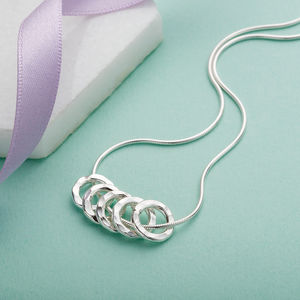 50th Birthday Five Silver Rings Necklace - women's jewellery sale