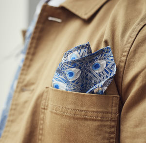 Blue Peacock Print Pocket Square - handkerchiefs