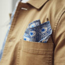 Blue Peacock Print Pocket Square