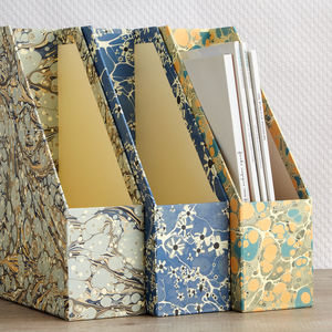 Marbled Print Magazine Files - desk tidies
