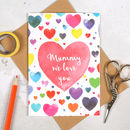 Personalised I Love You Mummy Watercolour Heart Card