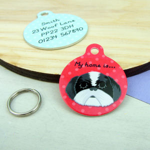 Personalised Shih Tzu Pet ID Name Tag - dogs