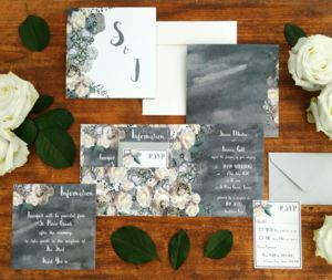 'Midnight Garden' Wedding Stationery Collection - winter styling