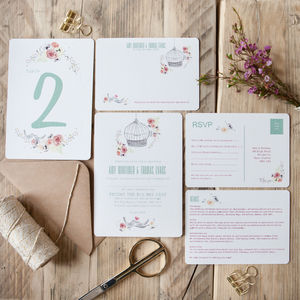 Free As A Bird Wedding Stationery - birds & butterflies