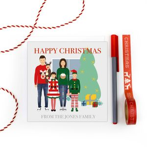 Personalised Family Christmas Cards Pack 'Trad Two'