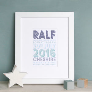 Personalised Boys Birth Date Print - new in baby & child