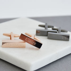 Matt Contrast Personalised Bar Cufflinks