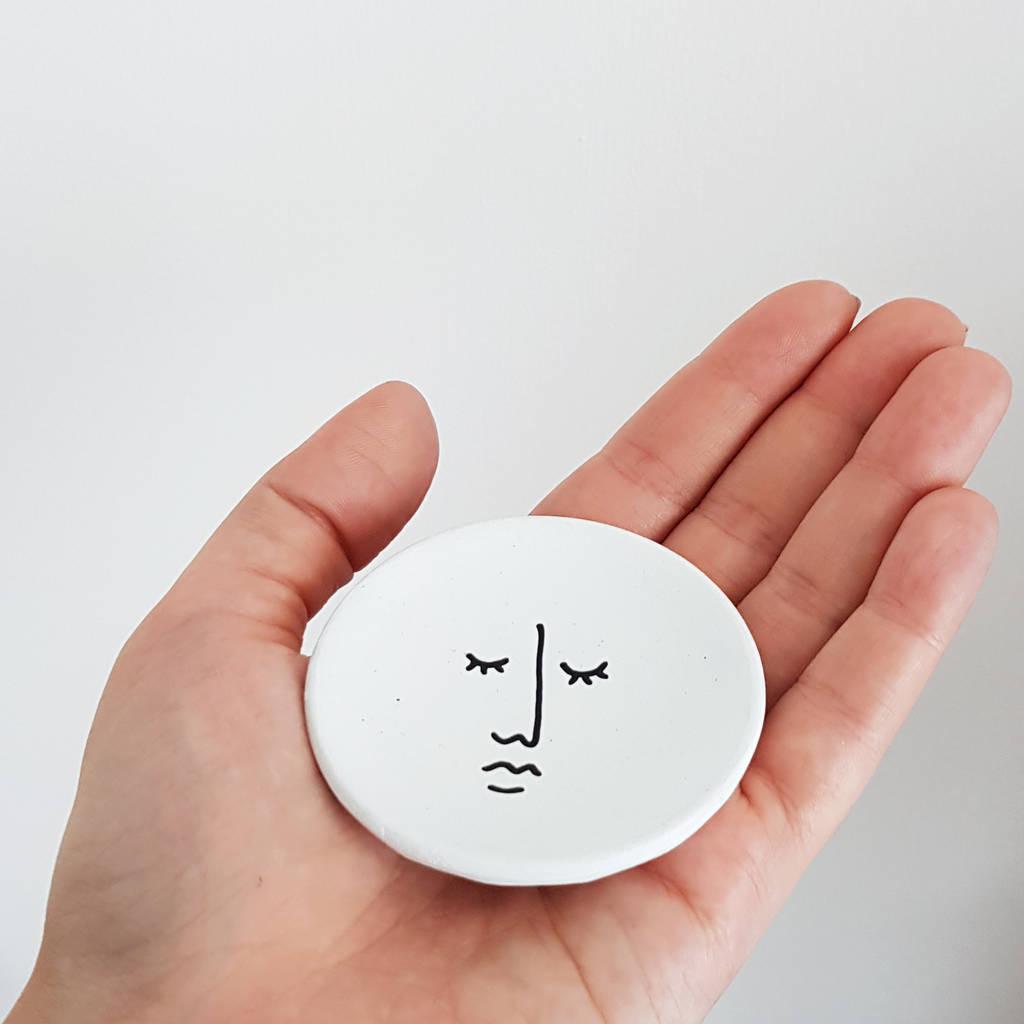 Jesmonite Trinket Dish Abstract Line Drawing Face