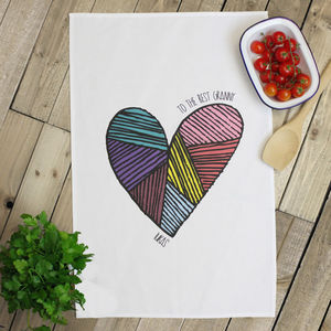 Personalised 'Heart' Tea Towel - kitchen linen