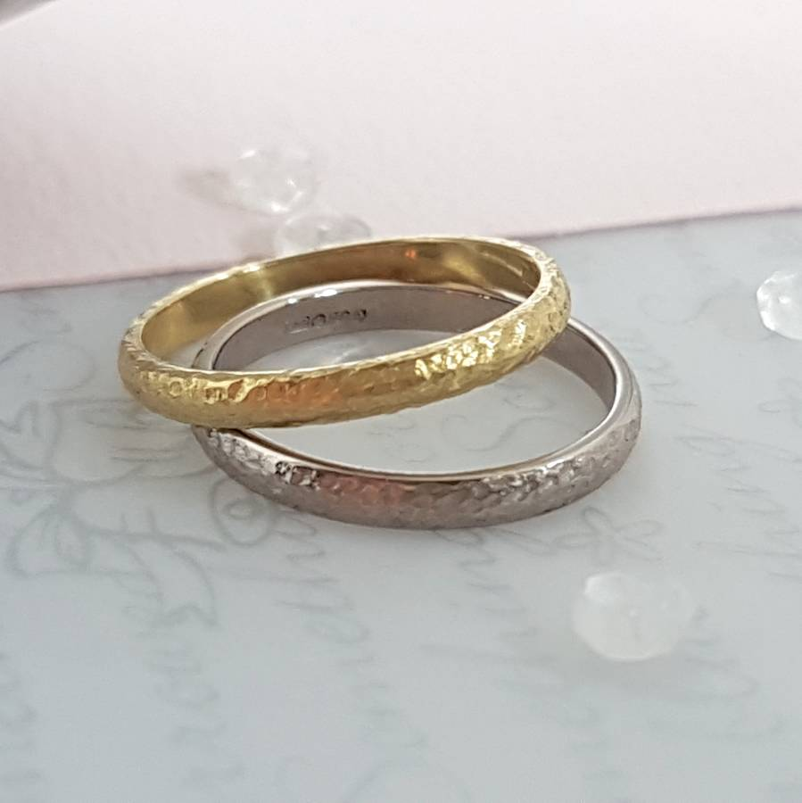 ring fullxfull il set wedding flat listing gold hammered rings rose carat