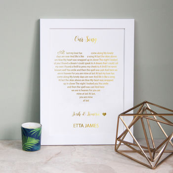 Metallic Song Lyrics Heart Print