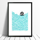 Bigger Boat screen print in aqua