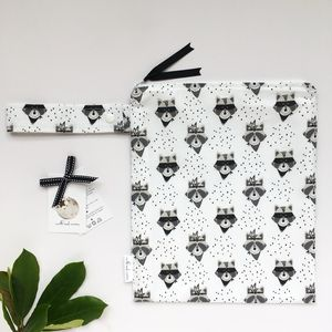 Monochrome Raccoon Nappy Changing Bag - baby changing