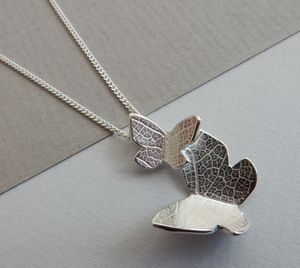 Double Butterfly Silver Necklace - gifts for mothers