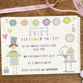 Girl's Birthday Party Invitations 'Cute Cake Day' - parties