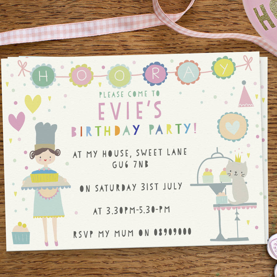 Girls birthday party invitations cute cake day by lily summery girls birthday party invitations cute cake day filmwisefo Image collections