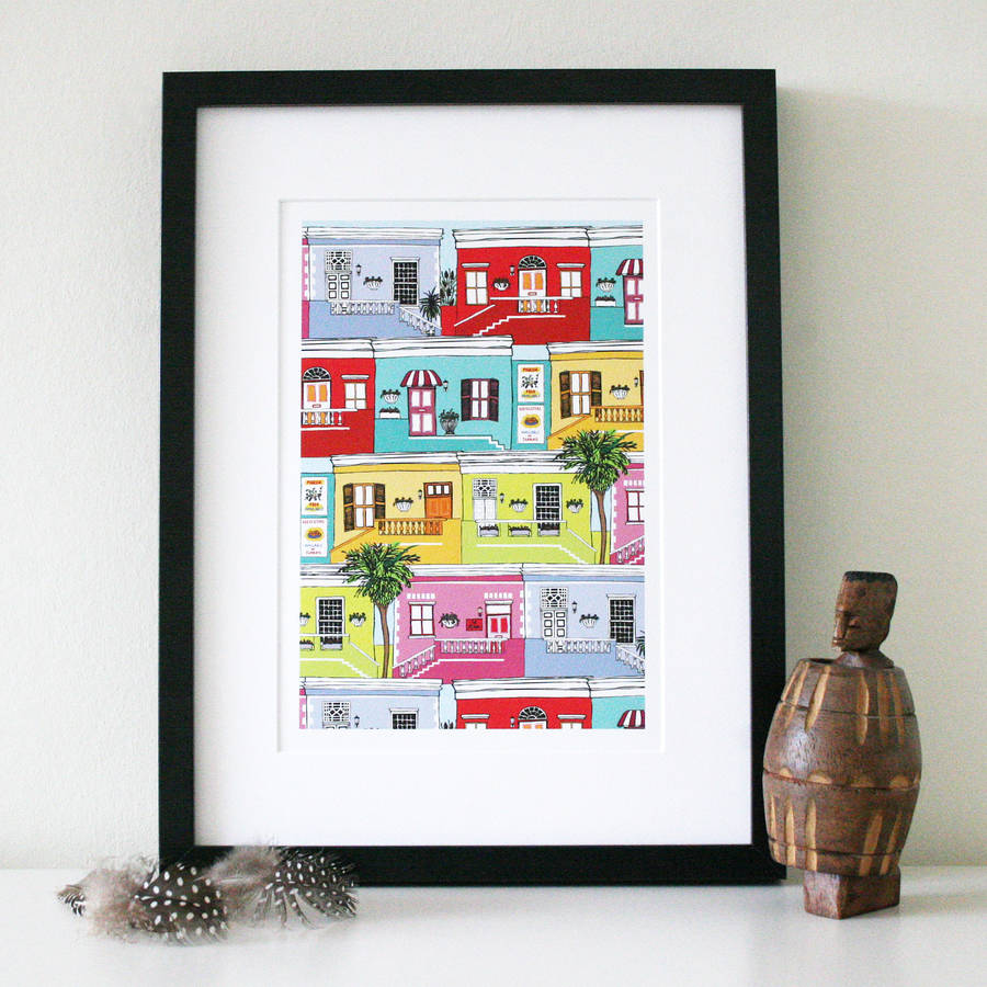 Colourful Cape Town Houses Art Print