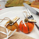 5x Personalised Felt Pumpkin Decorations