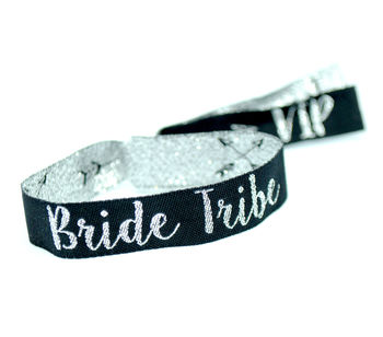 Bride Tribe Silver/Black Hen Party Wristband Favours