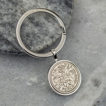 60th Birthday 1960 Sixpence Coin Keyring