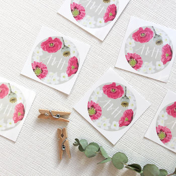 Personalised Poppy Floral Stickers