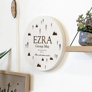 Bespoke Mountain Baby Wall Plaque - baby's room
