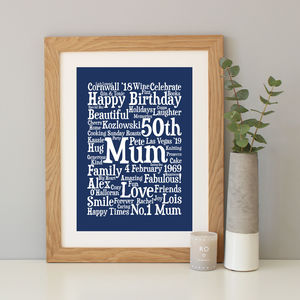 Personalised 50th Birthday Word Art Gift - typography