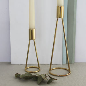 Contemporary Brass Candlestick - table decoration