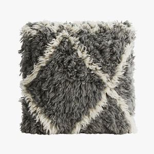 Grey And White Pure Wool Cushion
