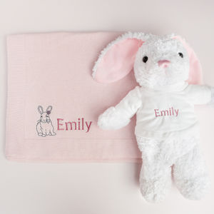 Personalised Baby Girl Bunny With Blanket - gift sets