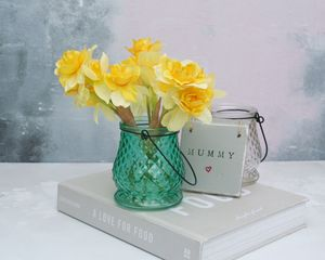 Faux Daffodils In Glass Vase - room decorations
