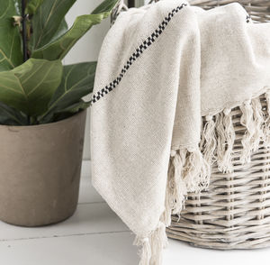 Cream And Black Striped Cotton Throw
