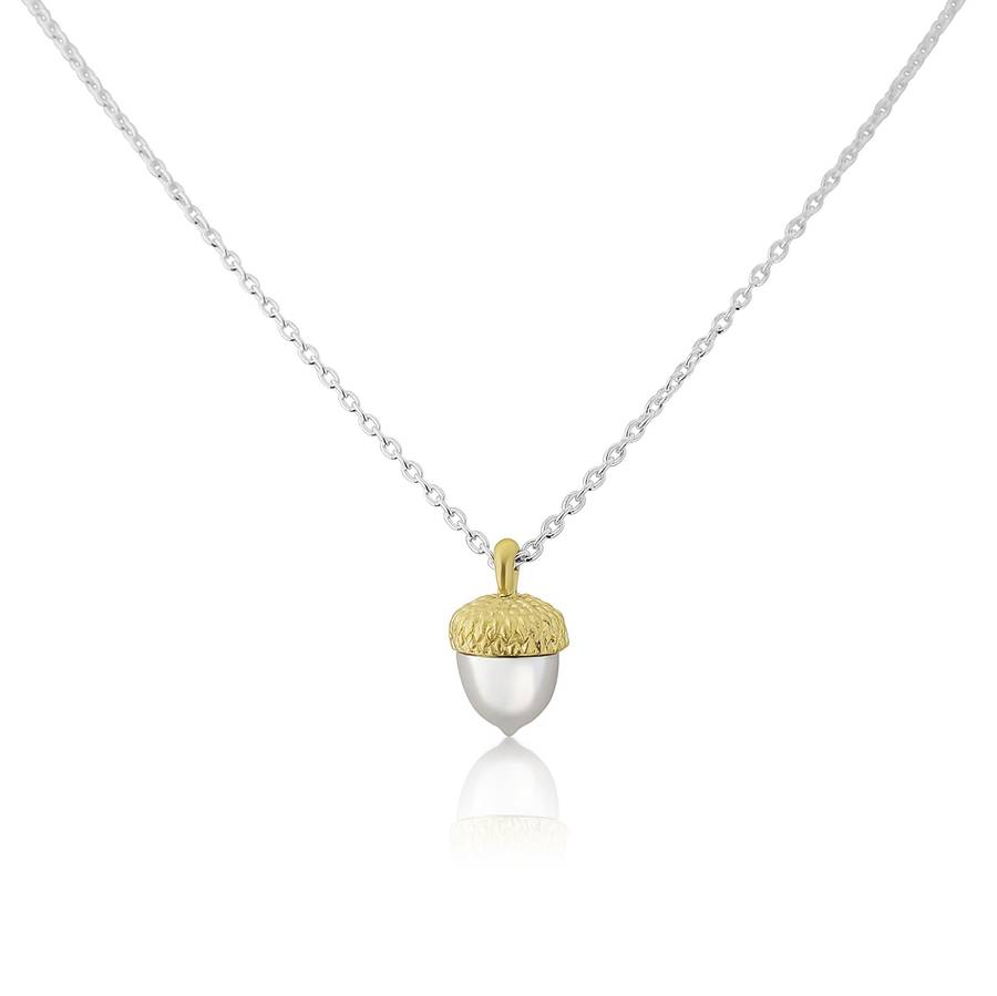 pendant p htm acorn silver gold rose necklace