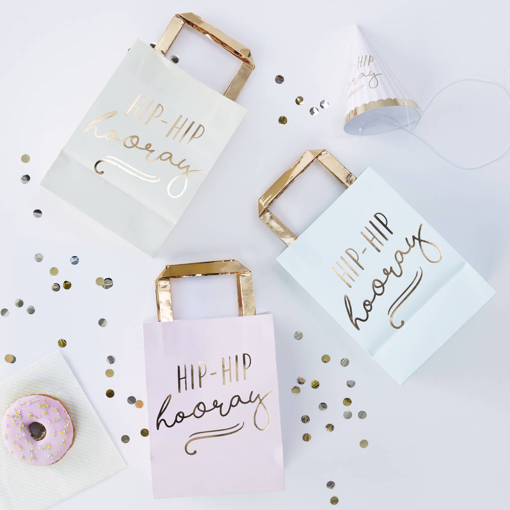 Pastel Gold Foiled Hip Hip Hooray Party Bags