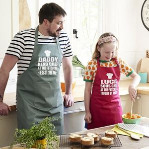 Personalised Daddy And Me Apron Set - kitchen