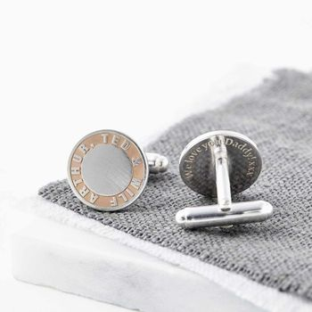 Personalised Rose Gold And Silver Cufflinks