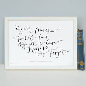 Personalised Art Print 'Great Friends Are Hard To Find' - personalised