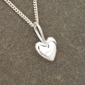 Solid Silver Polished Heart Necklace