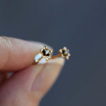 Tiny Flower Stud Earrings In Silver Or Gold