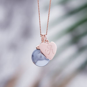 Rose Gold Pearl Necklace With Monogram Charm - gifts for her