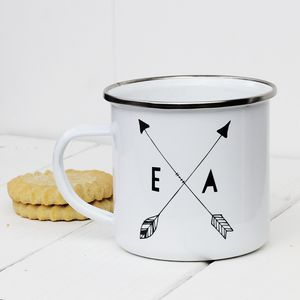 Personalised Arrow Enamel Mug - garden sale