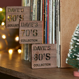 Personalised Walnut Record Divider - for him