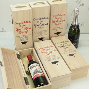 Personalised Graduation Wooden Bottle Box