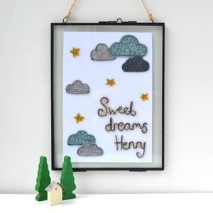 Personalised Embroidered Artwork In Hanging Frame