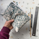 City Street Map Screenprinted Clutch Purse