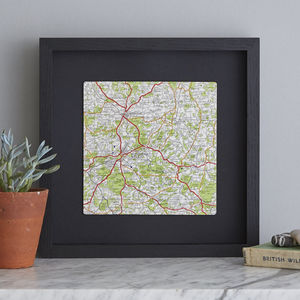Personalised Square Map Print Gift For Him, Large