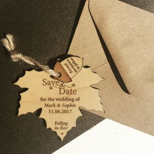 Autumn Leaf Hanging Wood Save The Date - invitations