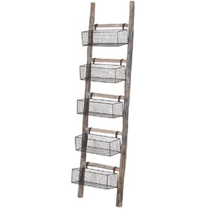 Wooden Ladder With Wire Storage Baskets - storage & organisers