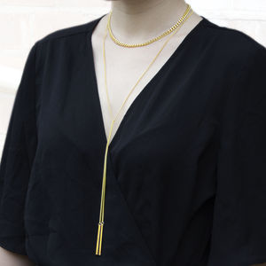Bar Chain Choker Lariat Gold Pendant Necklace
